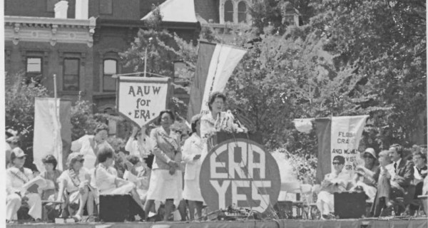 Former AAUW President Mary Purcell speaks at an Equal Rights Amendment rally.