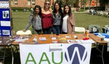 Members of the AAUW student organization at the University of California, Los Angeles tabling information.