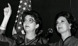 Former AAUW President Mary Purcell and Jehan Sadat, widow of Anwar Sadat and former First Lady of Egypt, at the U.N. in 1984