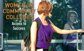 A young woman opening a glass door where you can see in her reflection that she is smiling. The words Women in Community College: Access to Success on the door.