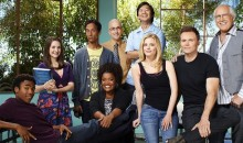 "The cast of ""Community"" sit in a classroom setting."