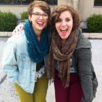 Kelsey, pictured on the right, posses with her friend and fellow AAUW student org member