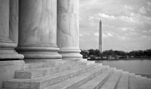 A view of the Washington Monument from the Jefferson Memorial.