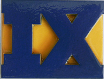 A big IX in blue and yellow.
