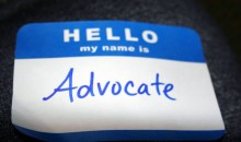 "A name badge reading ""Advocate"" in the name slot"