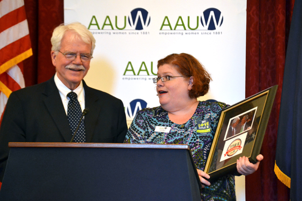 """AAUW Vice President of Government Relations Lisa Maatz presented Rep. George Miller with an AAUW TitleIX Champion award and a letter from AAUW of California. """"These 37 words changed everything,"""" Miller said of TitleIX."""