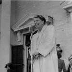 Eleanor Roosevelt attended the International Assembly of Women meeting in Kartwright, New York, in 1946.