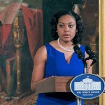 Allyson Carpenter introduces Michelle Obama at a White House event honoring the women of the Civil Rights movement.