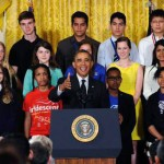 President Barack Obama with kids at the 2015 White House Science Fair