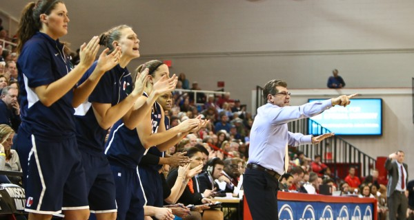 Connecticut Huskies head coach Geno Auriemma reacts on the sidelines against the St. John's Red Storm at Carnesecca Arena on February 2, 2013, in Jamaica, Queens, New York. Debby Wong. Photograph. Shutterstock.