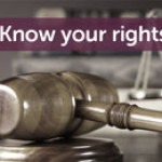 """A gavel with the words """"know your rights"""""""