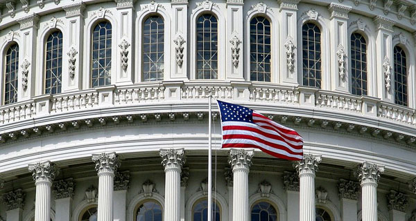 American Flag over US Capitol