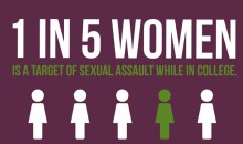 graphic showing the statistic that 1 in 5 women is a target of sexual assault while in college