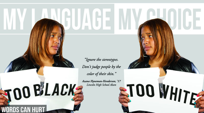 """A poster showing two images of a woman, one labeled """"too black"""" and the other """"too white"""""""
