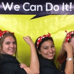 AAUW student organization members at Texas A&M University wear Rosie the Riveter outfits.