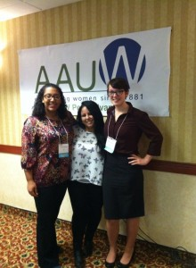 Three AAUW college student leaders standing outside a meeting.