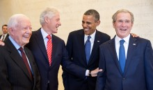 Presidents Carter, Clinton, Obama, and George W. Bush, laughing.