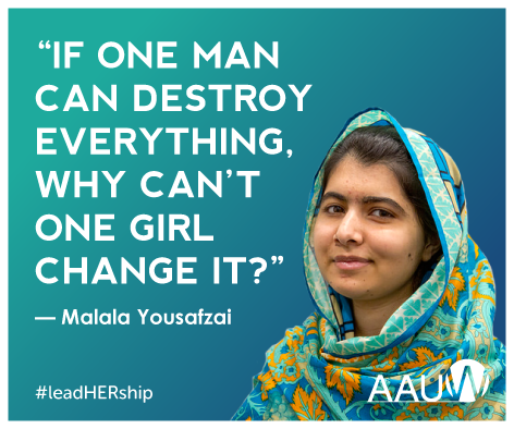 """A photo of Malala smiling next to a quotation """"If one man can destroy everyting, why can't one girl change it?"""""""