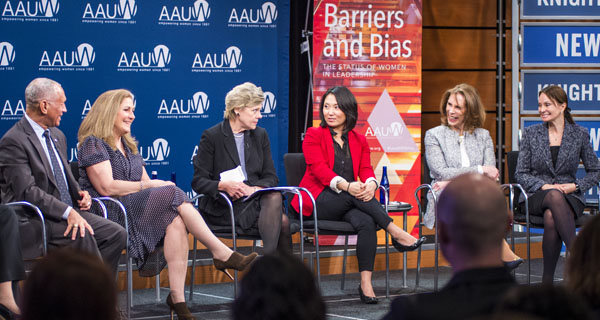 The expert panel discussed bias, mentors, and women in leadership. Photo credit: Maria Bryk/Newseum