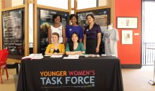 Group of women at a tabling event for YWTF.