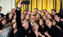 Group selfie US Womens National Soccer- Team with Barack Obama