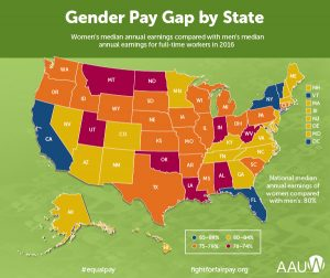 Oklahoma, For every $1 men make, women make: 74 cents. State Rank, 47th