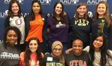 2016-2017 AAUW National Student Advisory Committee members pose in their school colors during their fall retreat in Washington, DC.