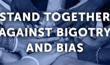 Diverse group of hands by race, ethnicity, and gender. Stand together against bigotry and bias. Donate to AAUW now.