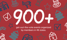 In 2016, 900 get-out-the-vote events were organized by AAUW members in 46 states.