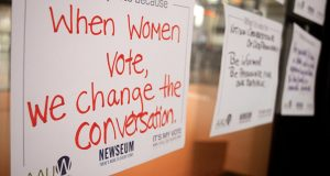 Visitors to the AAUW National Voter Registration Day event at the Newseum in Washington, DC leave notes about why they are voting.