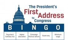 Bingo card for President Trump's first address to Congress on February 28, 2017