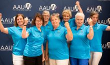 AAUW Morgan Hills (CA) members flex their muscles during the Annual Meeting at the 2017 AAUW National Convention in Washington, D.C.
