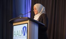 National Student Advisory Council (SAC) member speaks during the 2017 AAUW Annual Meeting and Town Hall.