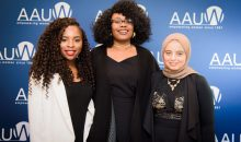 Attendees at the 2017 National Conference for College Women Student Leaders connected with powerful speakers. AAUW National Student Advisory members Aku Acquaye and Dania Baraka stand with poet Crystal Valentine.