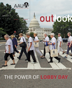 Cover art for the Fall 2017 issue of AAUW Outlook Magazine. AAUW members attending the 2017 AAUW National Convention in Washington, DC, in a crosswalk with the U.S. Capitol building in the background. 2017 AAUW Lobby Day on Capitol Hill. Copyright David Hathcox for AAUW.