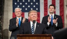 Flanked by Vice President Mike Pence and Speaker of the House Paul Ryan, President Donald Trump delivers his Joint Address to Congress at the U.S. Capitol Building in Washington, D.C., Tuesday, February 28, 2017.