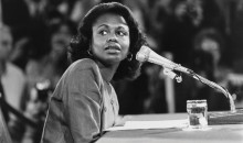 Anita Hill, J.D., testifying before the U.S. Senate Judiciary Committee on October 14, 1991. Getty Images.