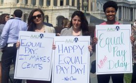 AAUW staff and interns rally on Capitol Hill in Washington, DC for equal pay on Equal Pay Day (2017).