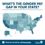 "Map of the United States in shades of blue. Map asks, ""What's the gender pay gap in your state? Find out at bit.ly/statepaygap"""