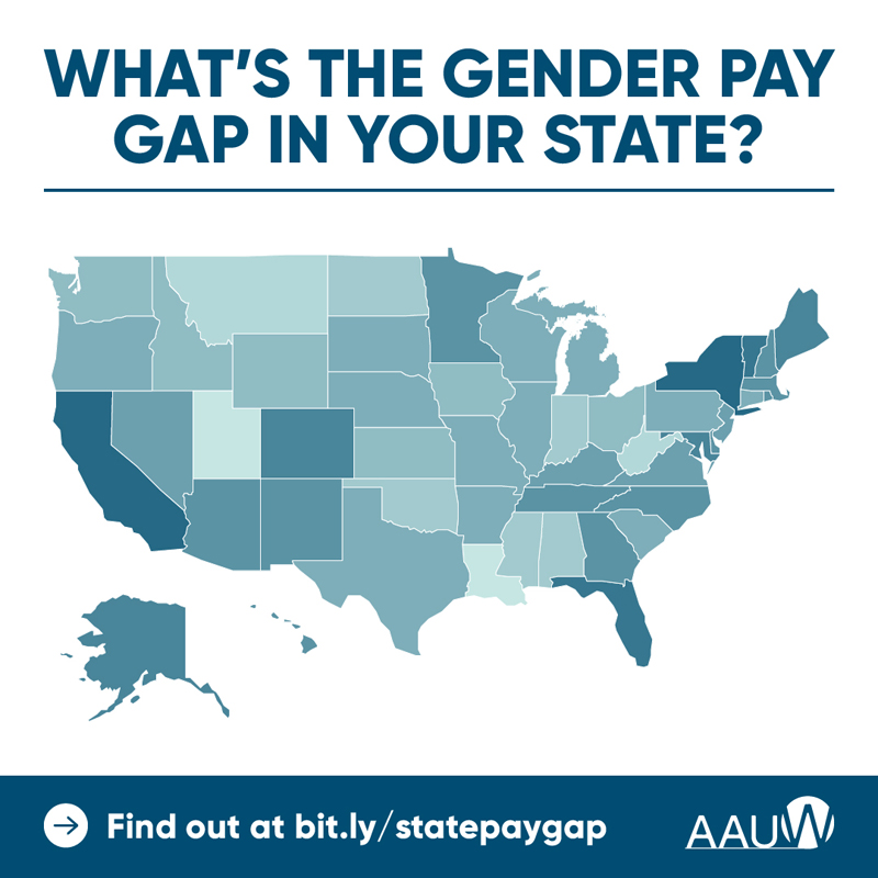 """Map of the United States in shades of blue. Map asks, """"What's the gender pay gap in your state? Find out at bit.ly/statepaygap"""""""