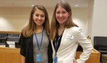 From left: AAUW UN Youth Representatives Jordan Davis and Veronica McKinny from Lehigh University at the conference