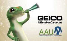 Geico gecko holds horn to announce discount for AAUW members