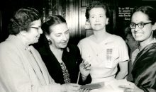 black and white photo of four women at the 1955 AAUW national convention
