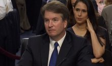 Judge Brett Kavanaugh's listens to opening remarks during Senate Confirmation Hearings on September 4, 2018, for his nomination to the Supreme Court. (NBC News screenshot)