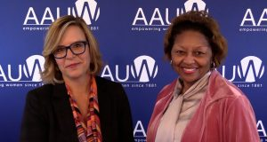 Video screenshot of AAUW Board Chair Julia Brown and CEO Kimberly Churches discussing the increase to AAUW membership dues in 2018.
