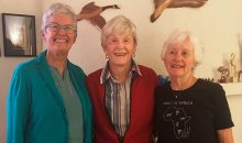 Three white elderly women pose for photo. All are members, donors and leaders in AAUW California.
