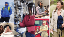 Pictures of six 2019-2020 fellows in action including in radio, in the field, in medicine, in a lab, and in the Marines.