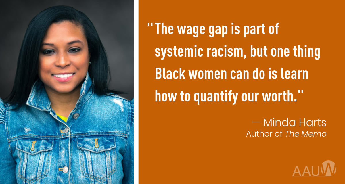 """Photo of Minda Hart with her quote """"The Wage Gap os part of systemic Racism..."""""""